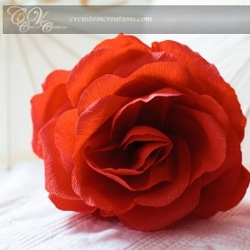Red Crepe Paper Rose Large