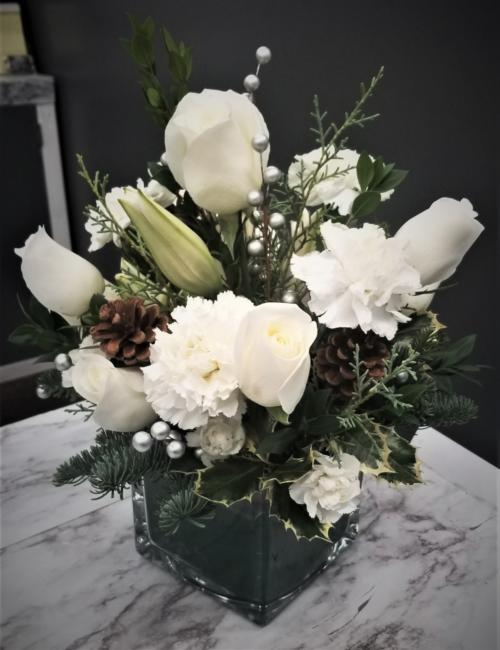 Small White Holiday Winter Arrangement